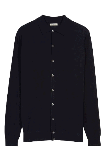 Navy polo collared cardigan