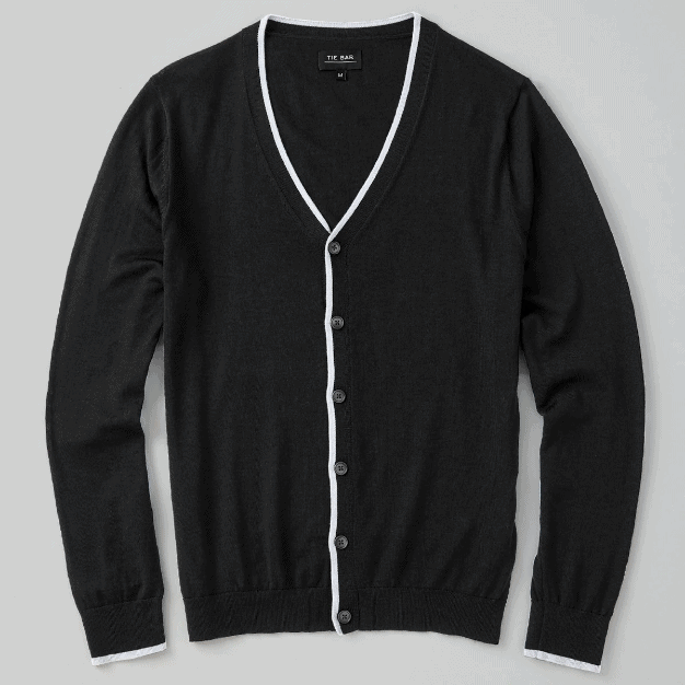 Tie Bar- Perfect Tipped Merino Wool Cardigan Heather Grey Sweater