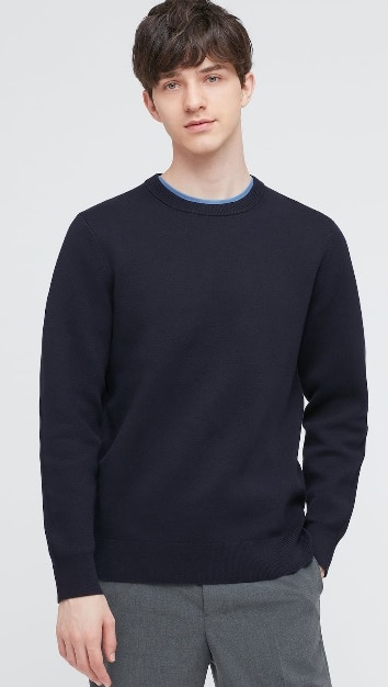 Uniqlo Washable Milano Ribbed Crew Neck Long Sleeve Sweater