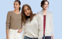Three women wearing the best lightweight women's sweaters