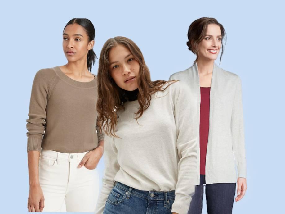 Three women wearing the best cotton sweaters