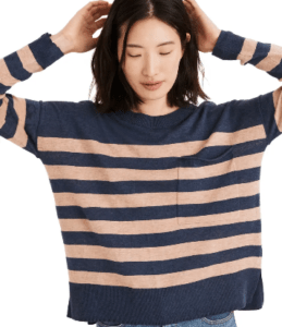 Blue and tan color strip sweater from Madewell