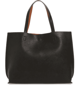 Street level brown and black reversible tote
